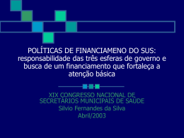 perspectivas de financiamento após a ec 29 - Saúde-Rio