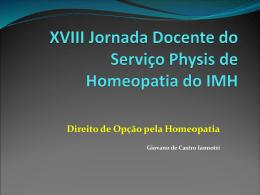 XVIII Jornada Docente do Serviço Phýsis de Homeopatia do IMH