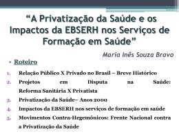 Privatização na saúde - EBSERH - ENPESS