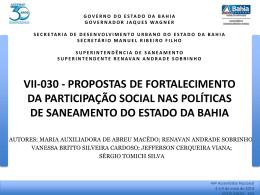 (TR) DO PLANO ESTADUAL DE SANEAMENTO BÁSICO (PESB/BA)
