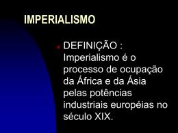 INPERIALISMO E PRIMEIRA GUERRA MUNDIAL