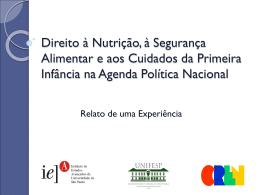 Direito à Nutrição, à Segurança Alimentar e aos Cuidados da