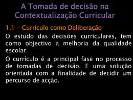 A tomada de decisão na Contextualização Curricular