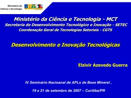 MCT-SETEC - Desenvolvimento e Inovação