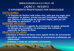 Avivamento profetizado por Habacuque