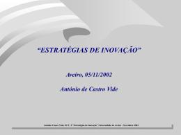 António Castro Vide, ECV, Portugal