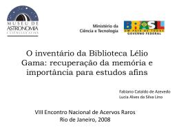 VIII Encontro Nacional de Acervos Raros Rio de Janeiro