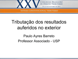 Paulo Ayres Barreto – Tributação dos resultados