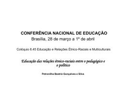 CONFERÊNCIA NACIONAL DE EDUCAÇÃO Brasília, 28