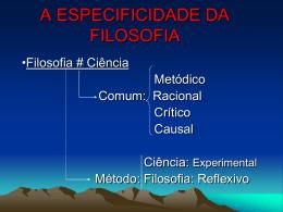 A ESPECIFICIDADE DA FILOSOFIA