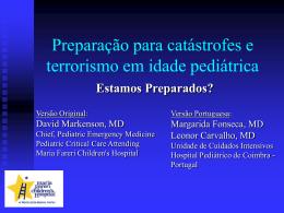Preparação para Desastres ou Terrorismo, em Pediatria