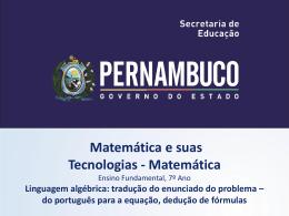 do Português para a equação, dedução de formulas