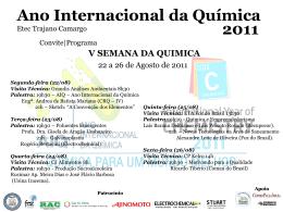 V SEMANA DA QUIMICA 22 a 26 de Agosto 2011 Etec Trajano