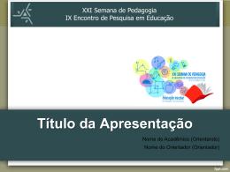Diapositiva 1 - Semana de Pedagogia