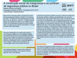 A construção social da insegurança e as políticas de
