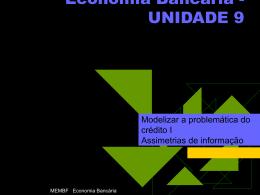 UNIDADE 9 Modelizar a problemática do crédito I