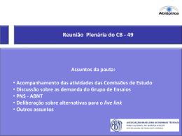 Atividades da Comissão de Estudo