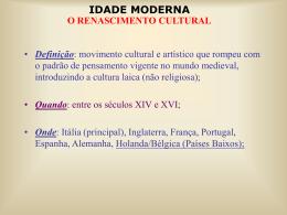 Renascimento Cultural - Prof. Carlos A. Guzzo