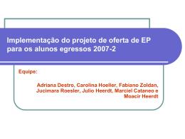 Implementação do projeto de oferta de EP para os