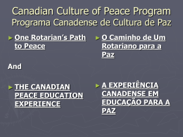 culture of peace and non-violence - Canadian Centres for Teaching