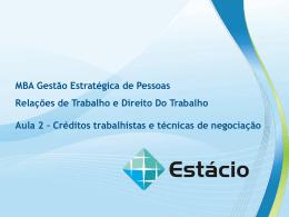 Aula 2 – Créditos trabalhistas e técnicas de negociação RELAÇÕES