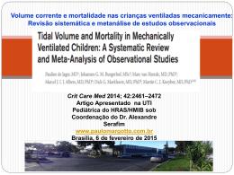 Volume corrente e mortalidade nas crianças ventiladas