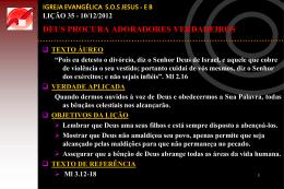 10/12/2012 DEUS PROCURA ADORADORES VERDADEIROS
