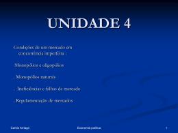 UNIDADE 4 - Competição imperfeita. Falhas de mercado