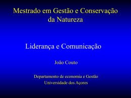 Mestrado em Gestão e Conservação da Natureza