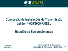 Apresentação Leilão 005/2009-ANEEL