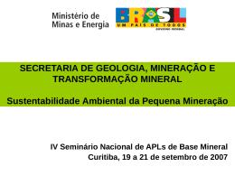 MME-SGM - Sustentabilidade Ambiental da Pequena Mineração