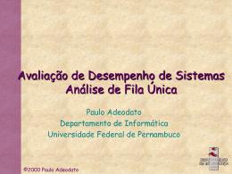 Análise de Fila Única - Centro de Informática da UFPE