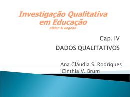 Cap. IV DADOS QUALITATIVOS
