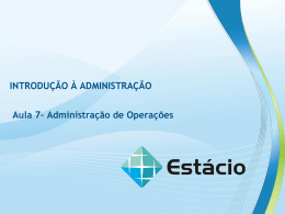 ÁREAS FUNCIONAIS DA ADMINISTRAÇÃO OPERAÇÕES