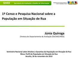 1º censo e pesquisa nacional sobre a população em