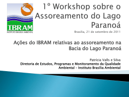 1º Workshop sobre o Assoreamento do Lago Paranoá