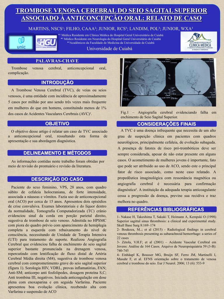 Vascular cerebral trombose e sagital acidente