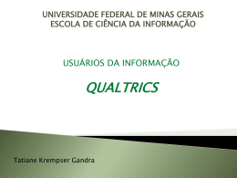 Qualtrics - Bogliolo - Universidade Federal de Minas Gerais