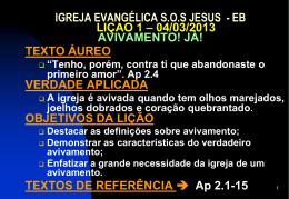 04/03/2013 avivamento já - Igreja Evangélica SOS Jesus