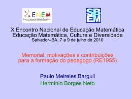 Memorial: motivações e contribuições para a formação do pedagogo