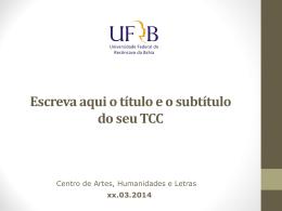 Template para a apresentação do TCC