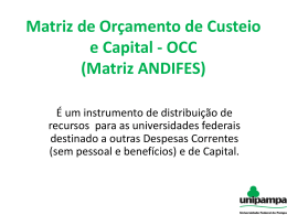 Matriz de Orçamento de Custeio e Capital (OCC)