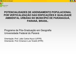 potencialidades de adensamento populacional por