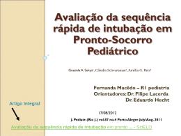 Avaliação da sequência rápida de intubação em Pronto