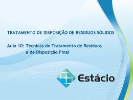 Aula 10 – Técnicas para Tratamento e Disposição Final