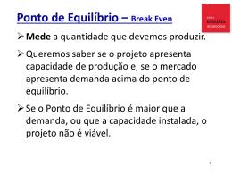 Ponto de Equilíbrio – Break Even Mede