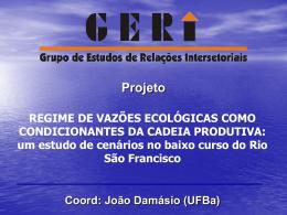 um estudo de cenários no baixo curso do Rio São