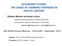 autonomy studies: the usage of learning strategies in our efl