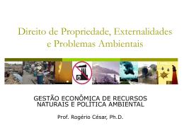 Direito de Propriedade, Externalidades e Problemas