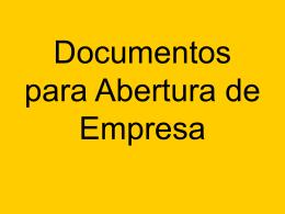 Documentos para Abertura de Empresa
